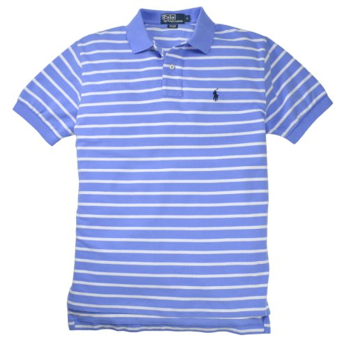 Polo Ralph Lauren Men'S Classic-Fit Striped Mesh Polo, Harbor Island Blue/White, S