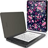 IGadgitz Designer Collection Rose Floral Pattern Slim PU Leather Shell Case Cover for New Amazon Kindle - Pink