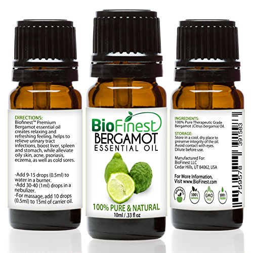 Biofinest Bergamot Essential Oil - 100% Pure Undiluted - Premium Organic - Therapeutic Grade - Best For Aromatherapy - Relieve Cold - Reduce Headache - FREE Essential Oil Guide (10ml)