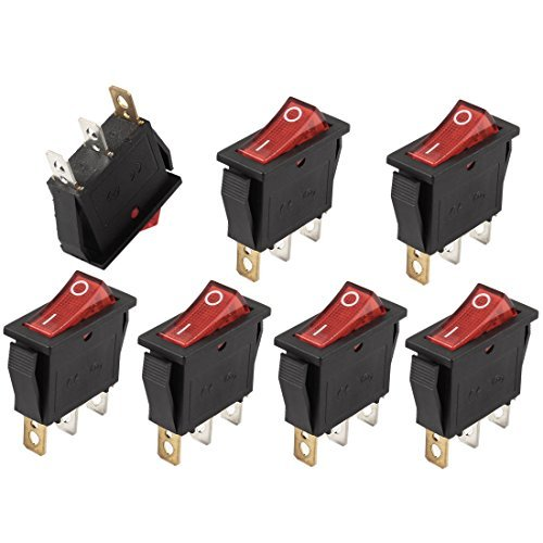 Dimart AC 250V/15A 125V/20A Red Light ON/OFF SPST Snap In Rocker Switch 7 Pcs