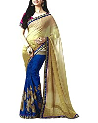 Yug Bansal Women's Blue and Beige Chiffon Saree