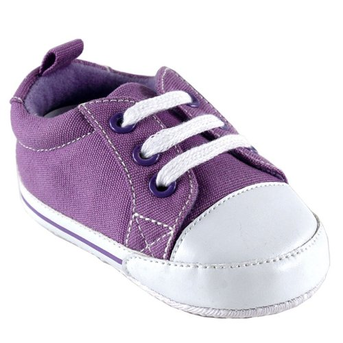 Luvable Friends Basic Canvas Sneaker, Purple, 12-18 months