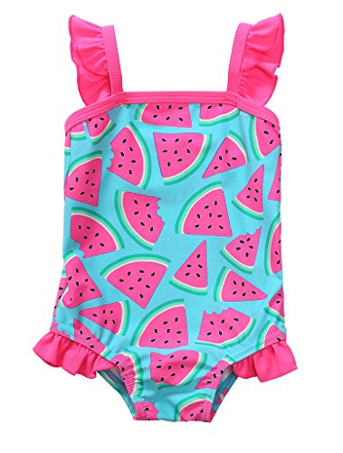 BeautyIn Baby Girls Cute Fruits Ruffle One Piece Swimming Costume Swimwear, Blue, 6-12 Months