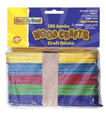 20 Pack CHENILLE KRAFT COMPANY JUMBO CRAFT STICKS 6 X 3/4 100/PK