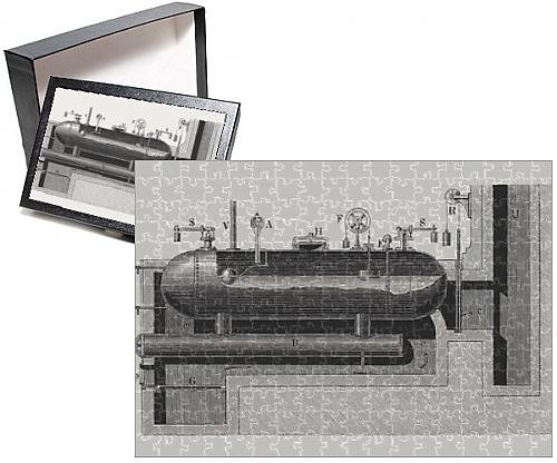 Photo Jigsaw Puzzle of Steam heating boiler, wood engraving, published in 1880
