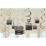 Amscan 674473 Movie Foil Swirl Hanging Decorations -Each