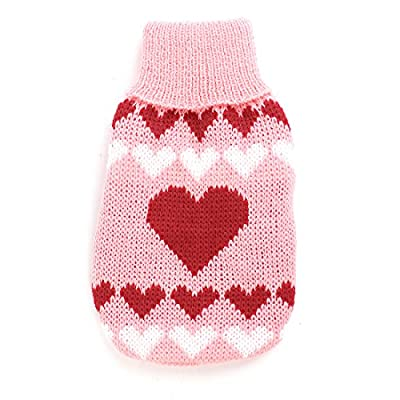 Ribbed Cuff Heart Pattern Pet Dog Cat Apparel Sweater XXS Pink Red