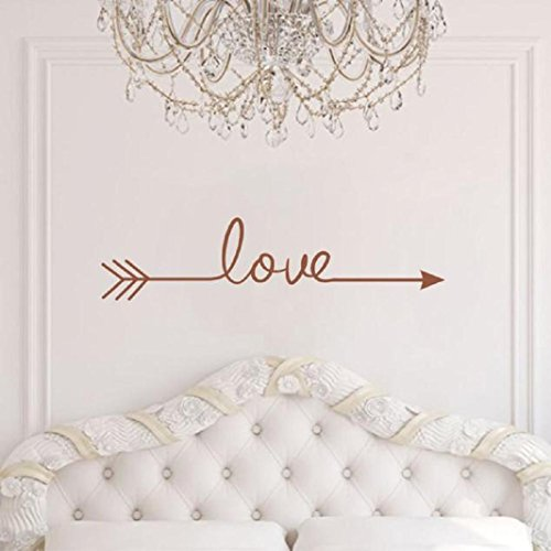 Iuhan® Fashion Love Arrow Decal Living Room Bedroom Vinyl Carving Wall Decal Sticker for Home Decoration (brown) (Brown Flower Wall Decal Stickers compare prices)
