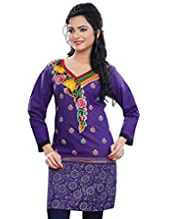 Long Sleeve Cotton Kurti Womens Tunic Top Indian Kurta