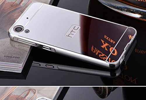 Metal Bumper Plastic Mirror Back Cover Case for HTC Desire 728 dual sim- Silver