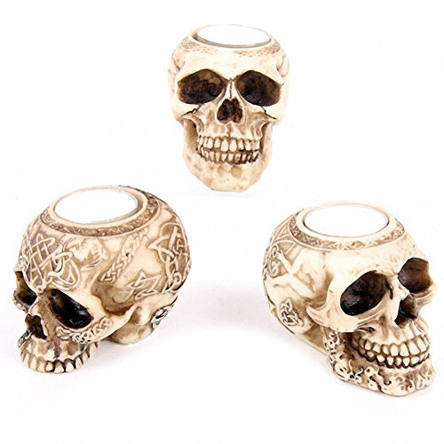 Skull Tealight Candle Holder 9x6.5cm - Tribal design with jaw by The Gift Shop