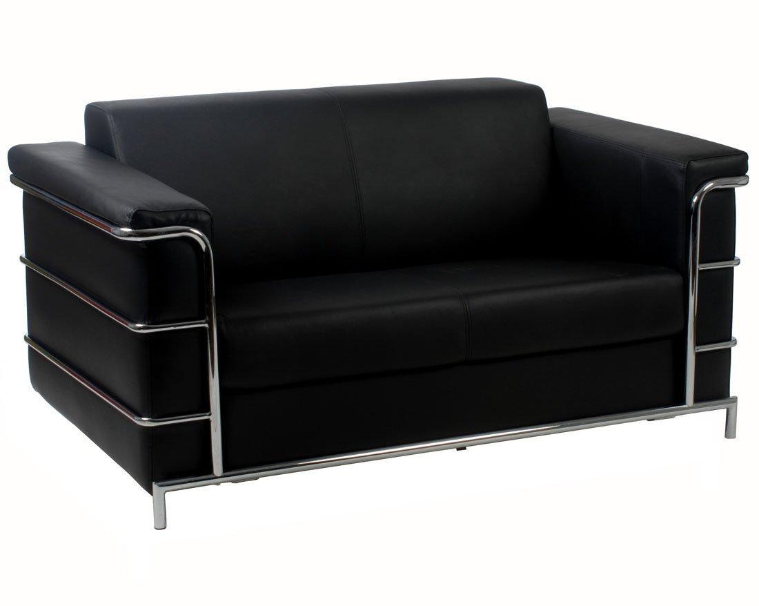 Euro Style Leonardo Leather Loveseat - Black/Chrome
