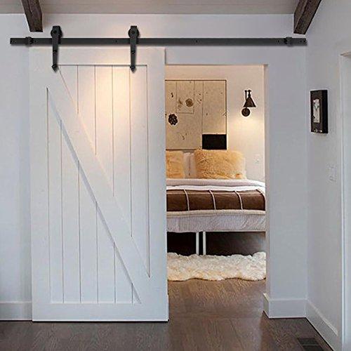 new-6-ft-black-modern-antique-style-sliding-barn-wood-door-hardware-closet-set