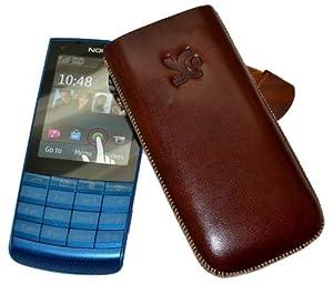 Original Suncase Echt Ledertasche (Lasche mit Rückzugfunktion) für Nokia X3-02 in braun