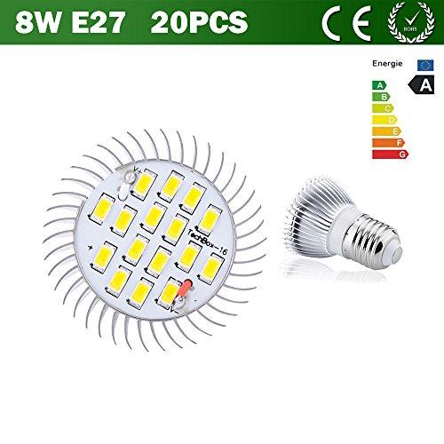 Vlunt 20Pcs 8W Smd Led Spot Light Bright Lamp Bulb Warm White Gu10 E14 E27 16X5630 Smd