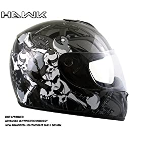 Advanced Hawk Chained Skull and Crossbones Gloss Black Full Face Motorcycle Helmet - Size : Large