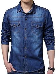 QZUnique Men\'s Big and Tall Autumn Fashion Classic Long Sleeve Denim Shirt Dark Blue US M/Asian L