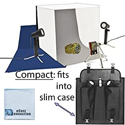Photo Studio Kit with 2 Lights, Studio Box/Tent, 3 Background Colors (White, Grey, Blue), Slim Travel Case + eCostConnection Microfiber Cloth