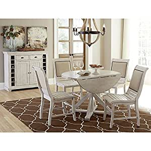 distressed white dining room furniture | Amazon.com - Willow Round Dining Room Set w/ Upholstered ...