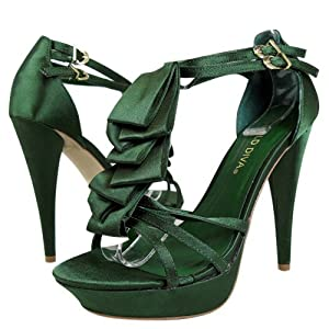 Lamis02 Ruffle Tiered High Heel GREEN
