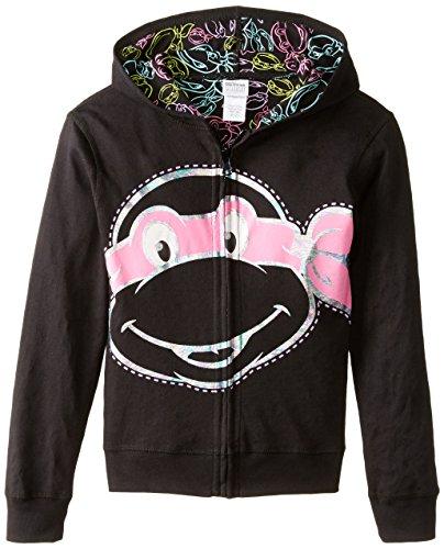 Teenage Mutant Ninja Turtles Big Girls' Reversible Zip Up Hoodie, Black, Large (Kids Ninja Turtle Sweatshirt compare prices)