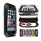 iPhone 6s Plus Case,PERSTAR Shockproof Dust/Dirt/Snow Proof Aluminum Metal Gorilla Glass Protection Case Cover for Apple iPhone 6 Plus/iPhone 6s Plus (Black) (Color: Black)