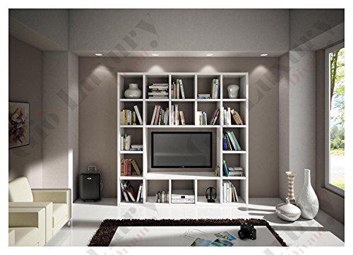 Set soggiorno composto da libreria porta tv bianco frassinato, stile moderno, in mdf laminato - Mis. 218 x 30 x 218