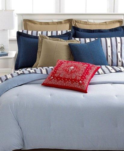 Lauren By Ralph Lauren Universty Full / Queen Oxford Stripe Blue Comforter