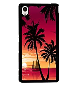 printtech Beach Palm Trees Boat Back Case Cover for Sony Xperia M4 Aqua::Sony Xperia M4 Aqua Dual