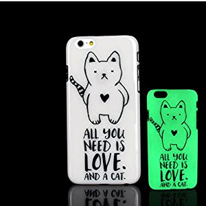 For iPhone 7 Plus Case, Glow in the Dark Cat kitty Pattern TomCase Fluorescent Back Cover for iPhone 7 Plus Case 5.5 inch, P2