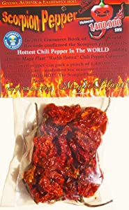 Dried Trinidad Scorpion Chili Pepper Pods - Hard to Find Limited Edition of the Hottest Pepper in the World 1,400,000 SHU (7.9gr-1/4oz) Super Hot and High Quality T Scorpion Pepper with an Amazing Test