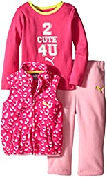 PUMA Baby-Girls 3 Piece Vest and Bodysuit Leopard Print with Solid Pant, Pink Bow, 18 Months