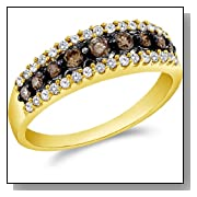 14k Yellow OR White Gold Round Cut White and Brown Chocolate Diamond Womens Ladies Wedding