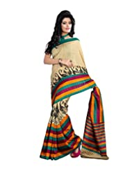 Anu Designer Self Print Saree (6411A_Multi-Coloured)