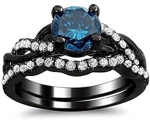 1.20ct Round Blue Diamond Engagement Ring Bridal Wedding Set 14k Black Gold Rhodium Plating Over White Gold