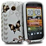 Accessory Master Silicone Case for HTC Desire C Fancy Butterfly Flowers Design Brown