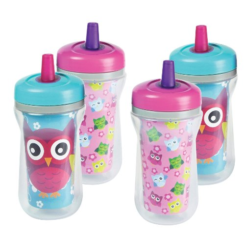 The First Years Spill-Proof Straw Cup With One Piece Lid, 4 Pk Owls - 1