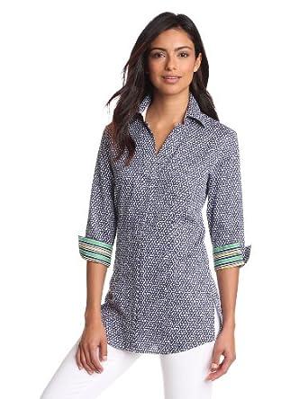 Foxcroft Women's Status Print With Border Shirt, Navy, 14