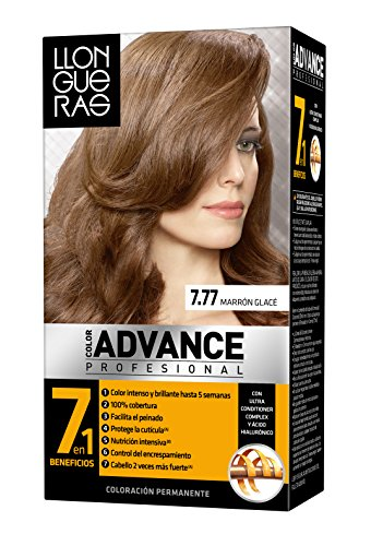 Llongueras Tintura per Capelli, Color Advance Hair Colour, 200 gr, 7.77-Iced Brown