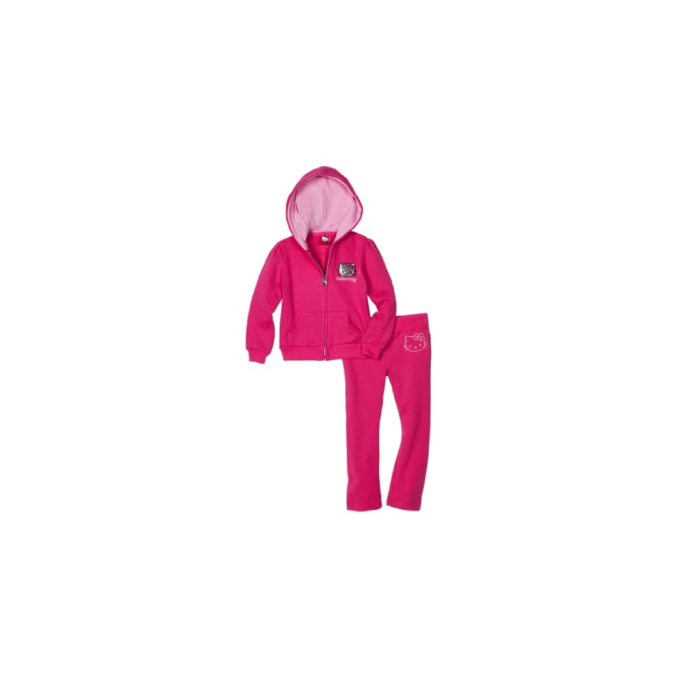 Hello Kitty Little Girls Mini Sequined Fleece Active Set, Fuschia Purple, 6x