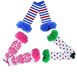 Joyci 3-pair Infant Baby Girls Tutu Ruffles Leg Warmer Toddler Leg Warmer (AB)