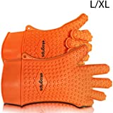 Ekogrips Max Heat Silicone BBQ Grill Oven Gloves - Designed In USA - L/XL Long Cuff - 3 Sizes