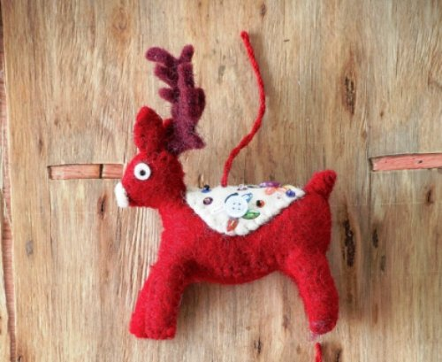 Creative Co-op Felt Deer Ornament, Choice of Saddle Color (white)