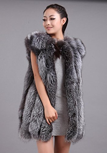 Bafei Winter Whole Skin Silver Fox Fur Vest Gilet Waistcoat US 16