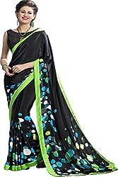 JK apparels Women Silk Crepe Black saree with designer blouse