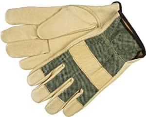 MCR Safety 3425S Grain Pigskin Driver Premium Grade Gloves with Green Mesh Back and Keystone Thumb, Light Yellow/Green, Small