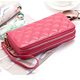 Katloo Women's Large Capacity Rhombic Leather Card Organizer Wallet Wristlet Handbag with Dual Zipper Round Closure