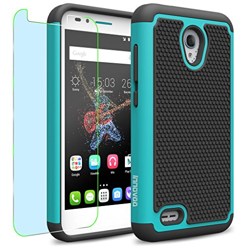 Alcatel One Touch GO PLAY / 7048X Case, INNOVAA Smart Grid Defender Armor Case W/ Free Screen Protector & Touch Screen Stylus Pen - Black/Teal