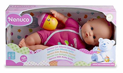 Famosa 700012087 - Nenuco Bambola con Biberon e Vestito Bianco