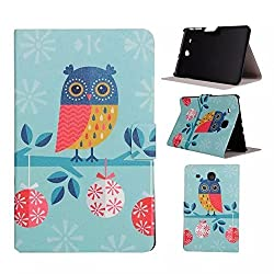 Samsung T560 Case,Card Solt PU Leather Smart Case Build in Magnetic with [Auto Sleep/Wake Function] For T560 Flip Magnetic Cover Colorful Wallet Leather Samsung Galaxy Tab E T560 (Owl)